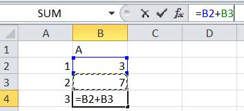 Ejemplo de suma en Excel