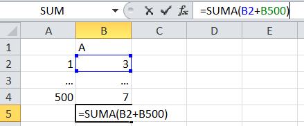 Ejemplo fórmula suma en Excel