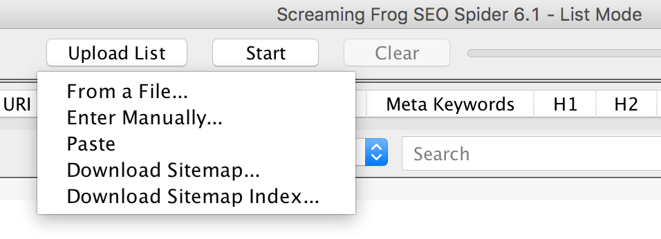 Analizar Sitemap con Screaming Frog
