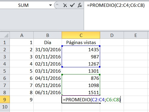 Ejemplo promedio Excel excluyendo