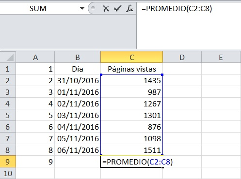 Ejemplo promedio Excel